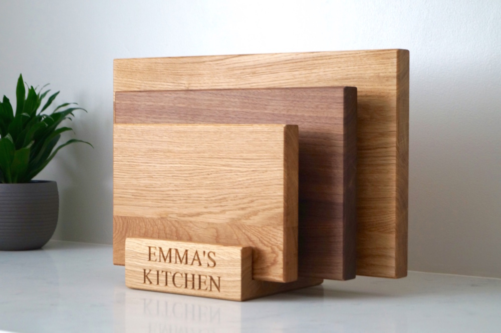Unique Wooden Gift - Chopping Board set with stand